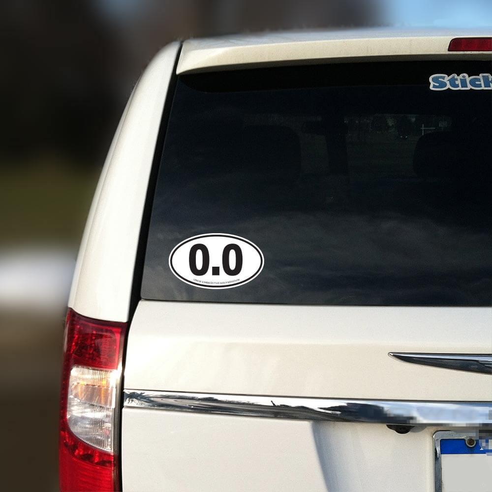 White 0 0 Marathon Oval Sticker