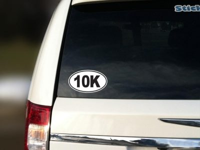 10k marathon car oval bumper sticker decal