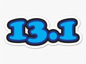 13.1 half marathon car bumper sticker