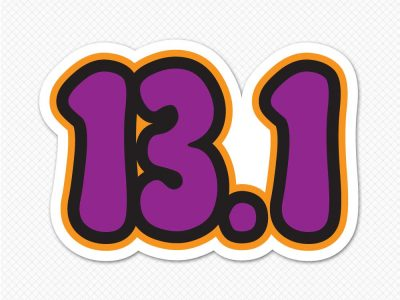 purple number half marathon 13.1 bumper sticker