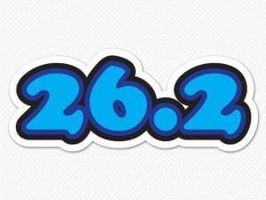 26.2 full marathon bubble letter car sticker
