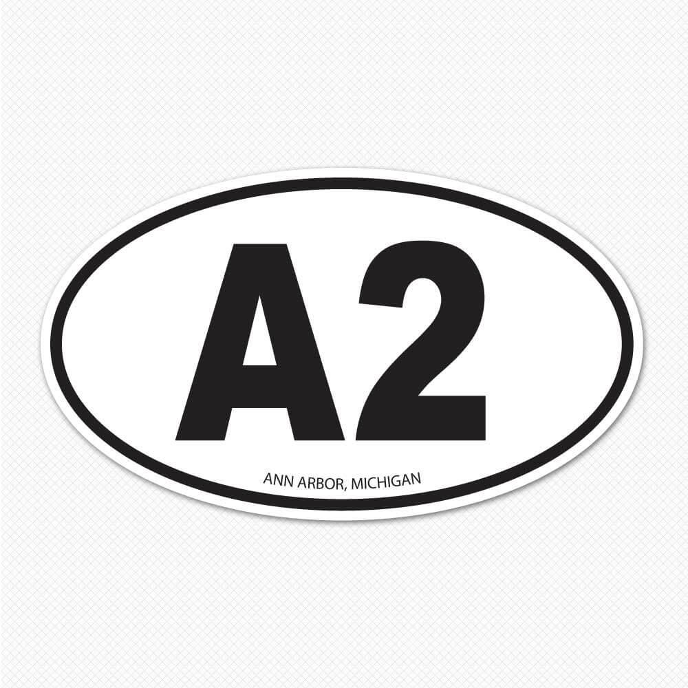 a2 oval ann arbor car decal