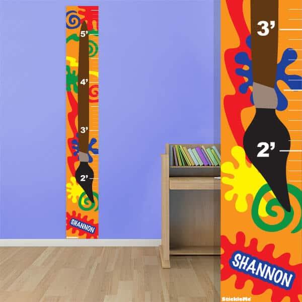 Custom Kids Growth Chart Paint Splatter Wall Decor