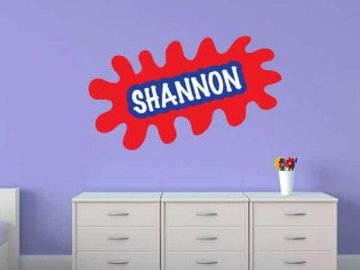 wall name sticker splatter paint