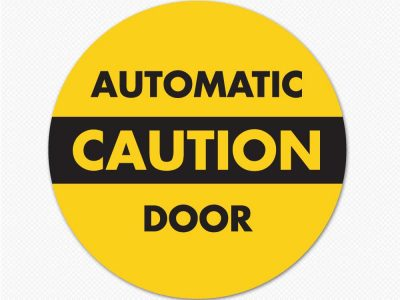 automatic door decal sticker caution