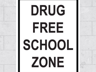 drug free school zone wall sign stickleme