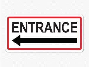 entrance sign red graphic sticker decal arrow