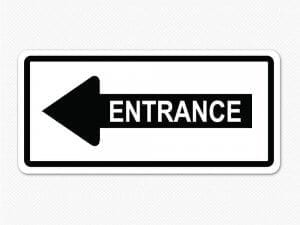 entrance sign sticker decal arrow removable