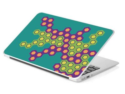green hexagon honey comb laptop skin design
