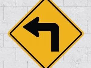 left turn wall sign sticker stickleme