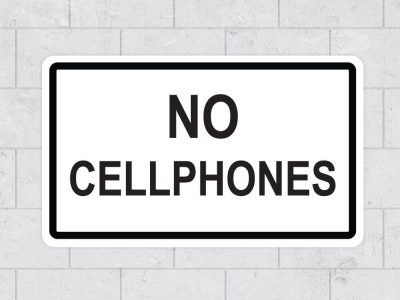 no cellphones school sign sticker stickleme