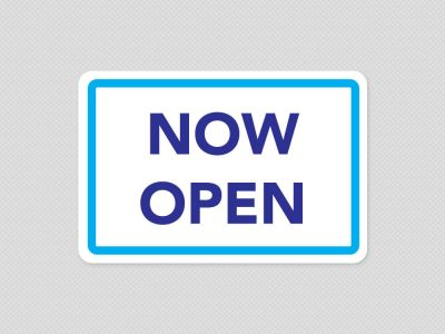 now open sign sticker graphic store