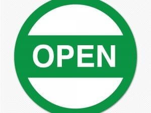 Open green circle sticker decal sign removable