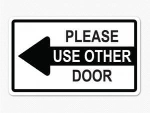 other door black arrow sign removable graphic