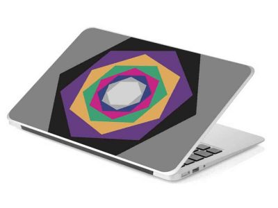 grey hexagon colorful laptop removable skin