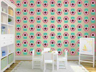 cartoon eye flower wallpaper restickable stickers wall graphics decor