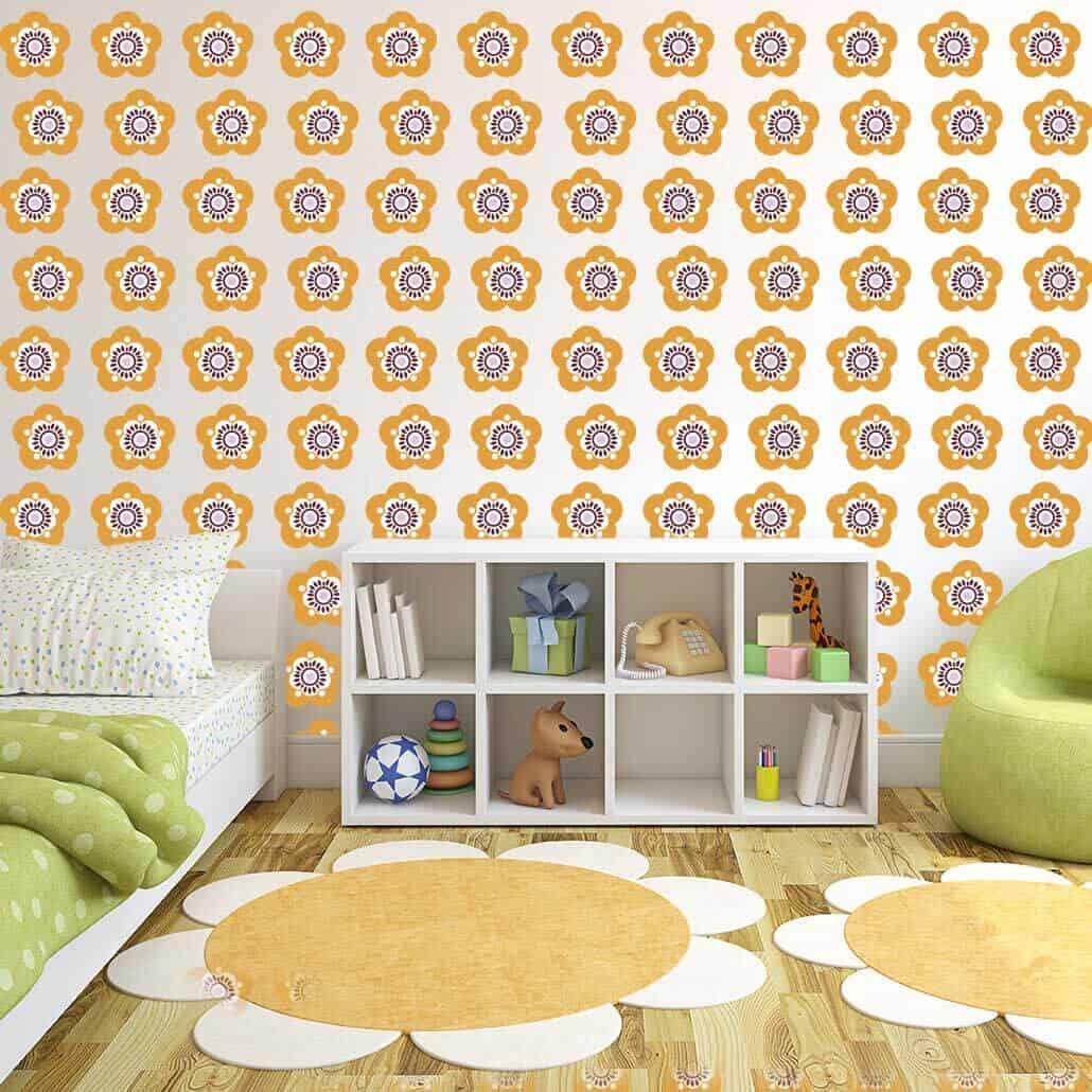 sassy flower wallpaper wall graphics room decor orange