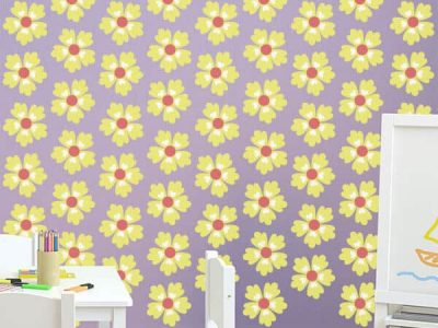 yellow wallpaper wall graphics room decor restickable stickers
