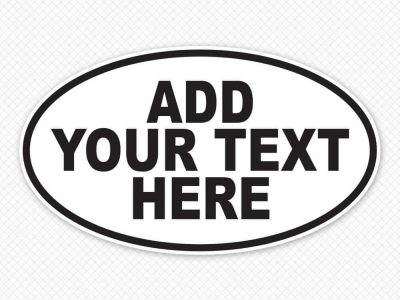 Custom Text Oval Stickers