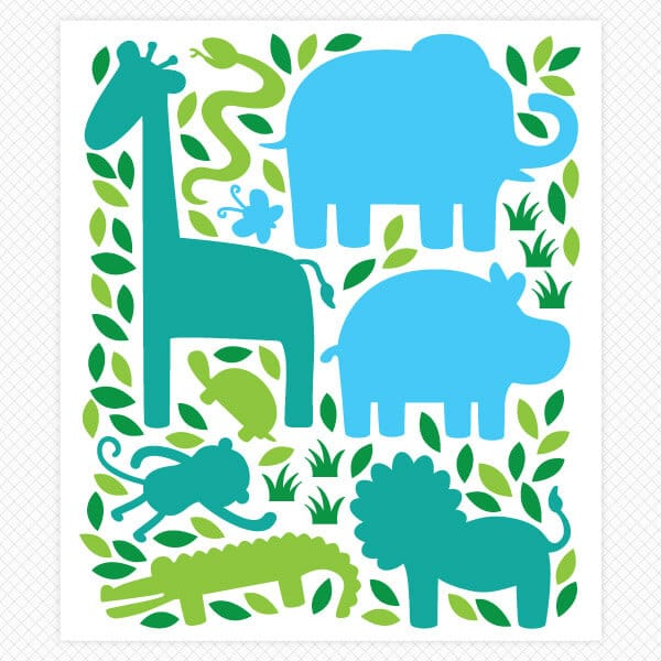 zoo animal Silhouette sticker sheet restickable room theme decals wall graphics