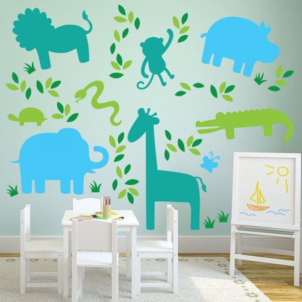 Animal Silhouette Wall Decals Graphics Room Zoo Stickers Restickable Part 89