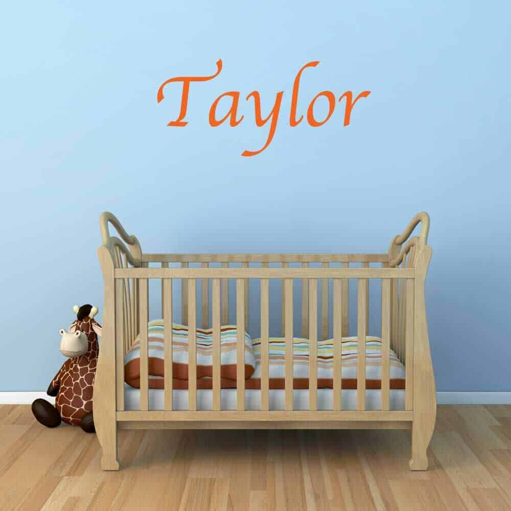 Wall Name Sticker Graphic Restickable Removable Baby Crib Room