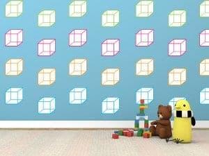 cube wallpaper sticker restickable room decor wall decals