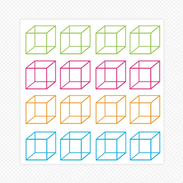 cube sticker sheet colorful wall decor room