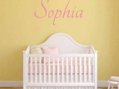 elegant_ pink wall name sticker graphic crib baby