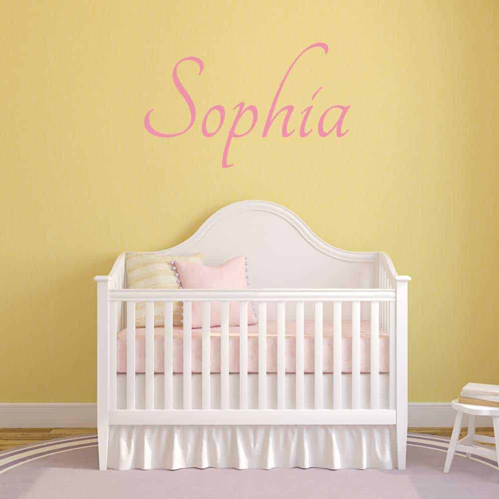 Elegant Pink Wall Name Sticker Graphic Crib Baby