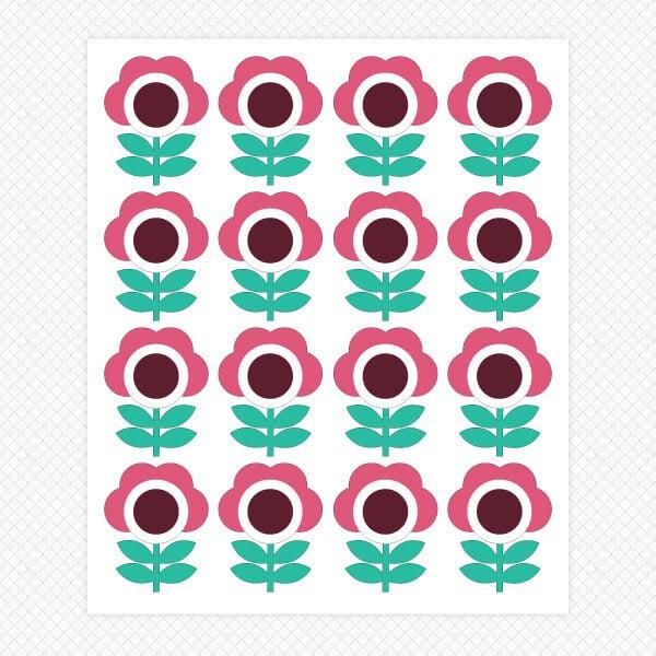 cartoon flower sticker sheet wall decor graphics