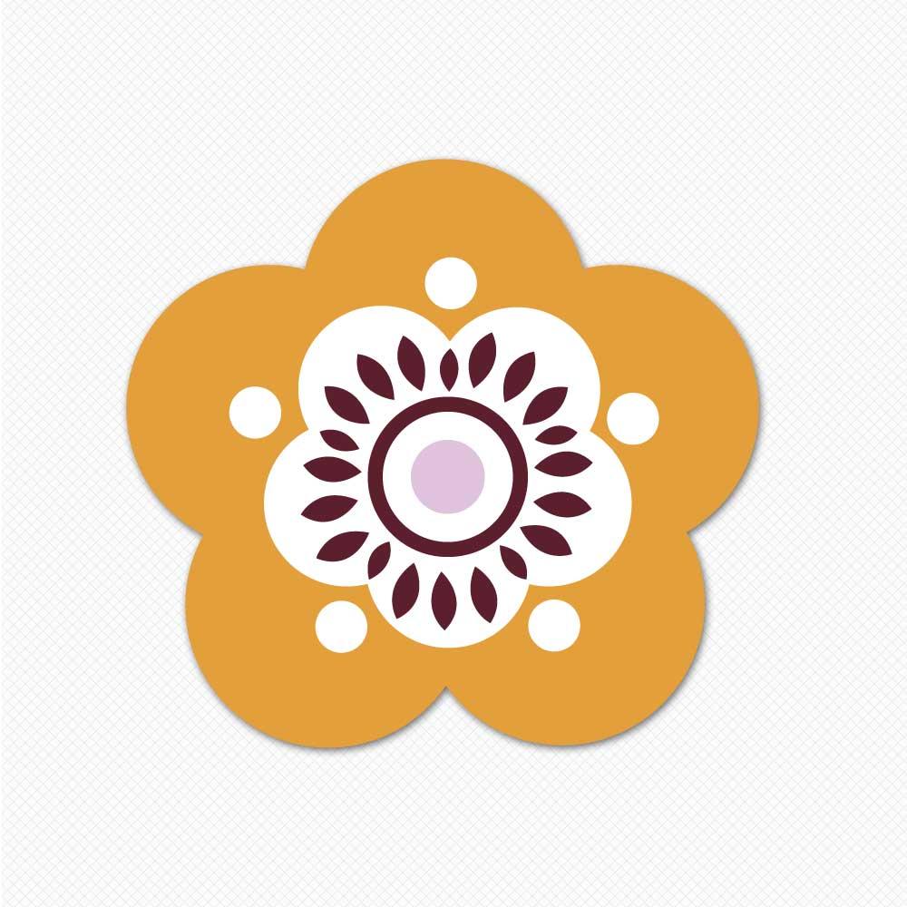 orange sassy flower wall sticker restickable