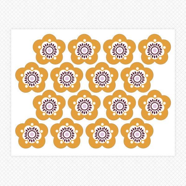 orange sassy flower sticker sheet restickable wall room decor