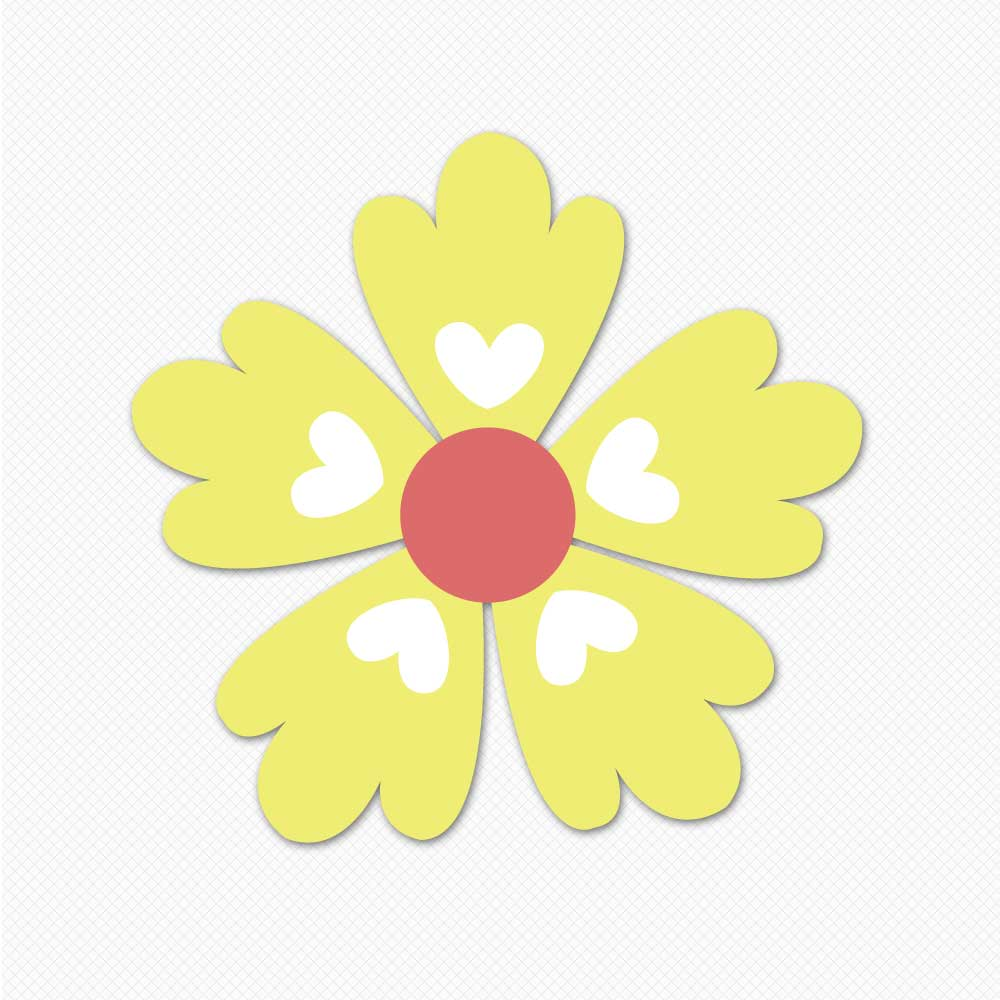 yellow hearts flower graphics wall stickers room decor