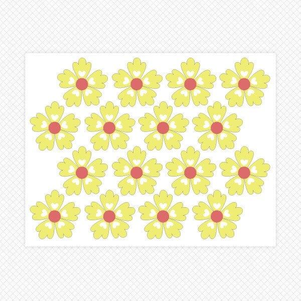 Yellow Flowers on a Sticker Sheet