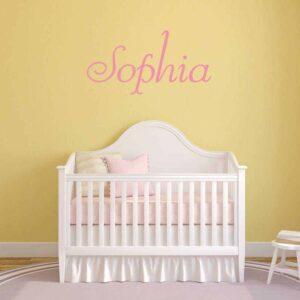 elegant wall name sticker graphic removable baby crib room decor