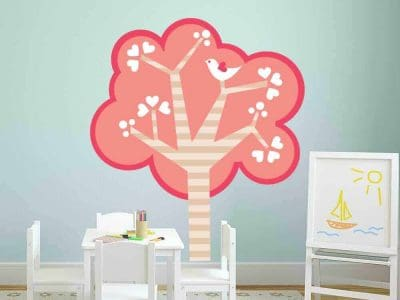 pink tree hearts wall graphic sticker restickable room decor