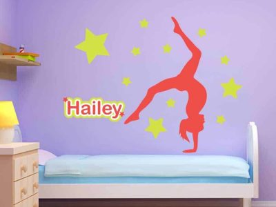 gymnastics wall name stickers stars graphics restickable