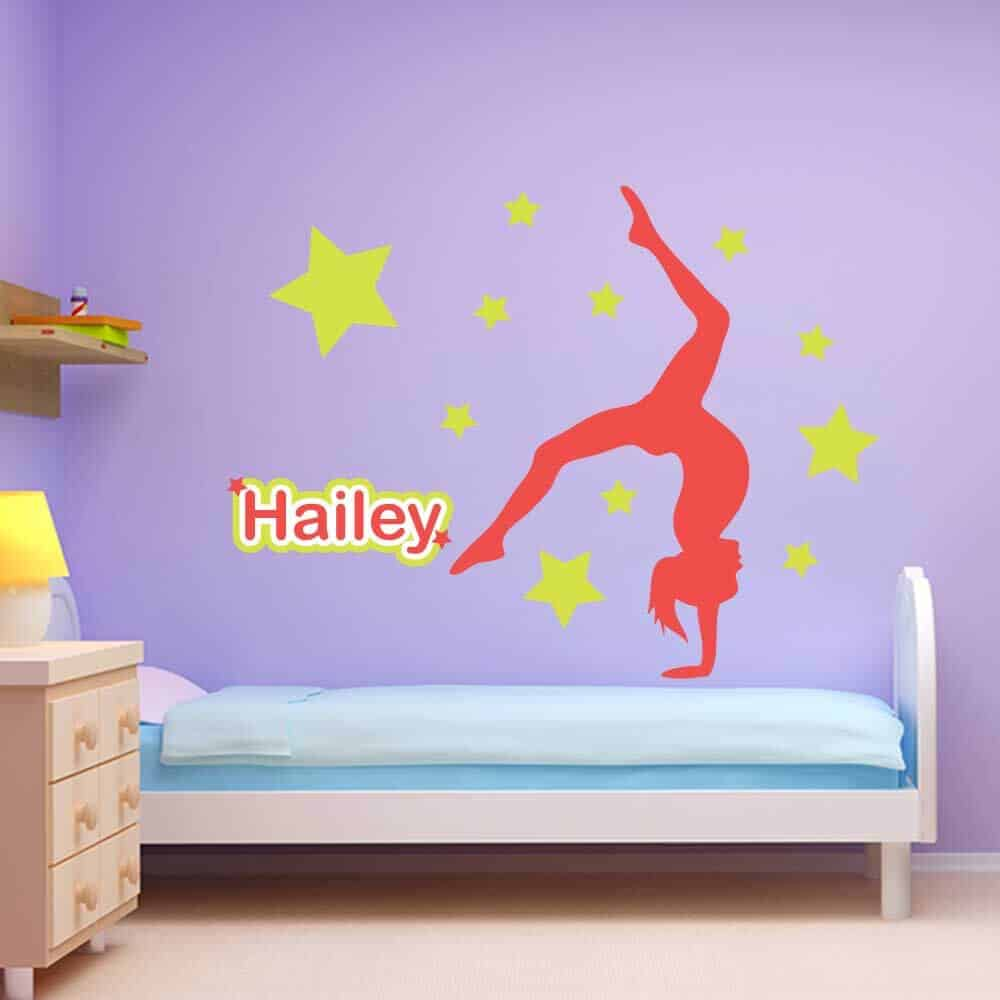 stars handstand gymnastics wall package sticker genius gymnastics wall name stickers stars graphics restickable
