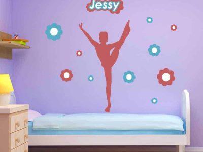 flowers dancer gymnastics wall graphics room decor name