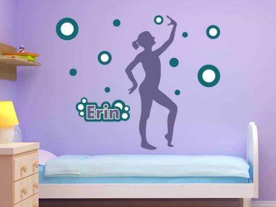 gymnastics ball dancer circle wall graphics room decor wall name stickers