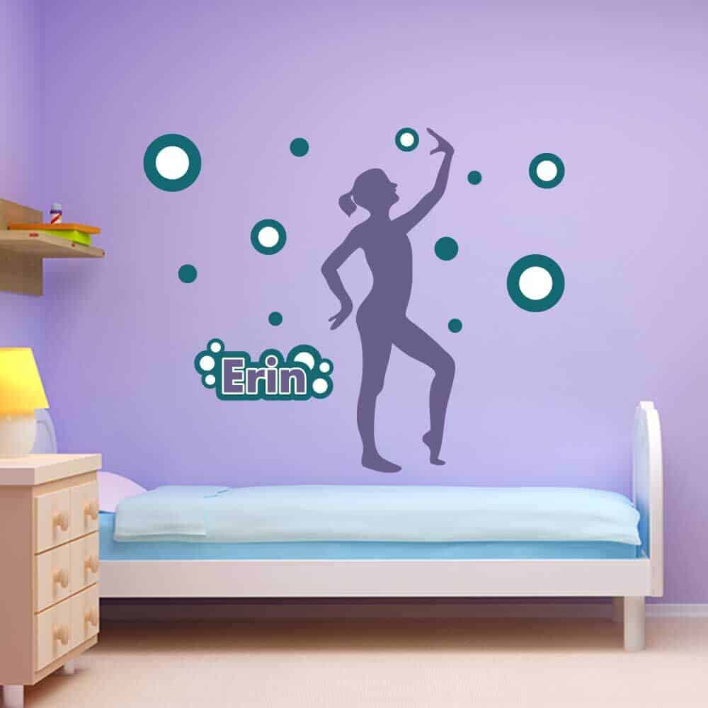 gymnastics ball dancer circle wall graphics room decor wall name stickers