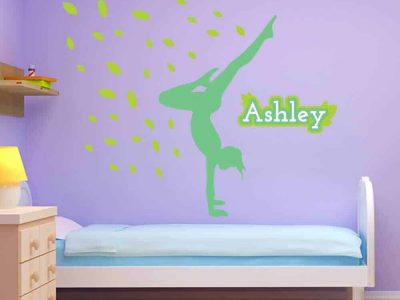 leaves handstand gymnastics wall decor room name sticker graphics