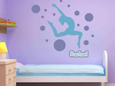 ball circle dancer gymnastics wall graphics sticker room decor wall name