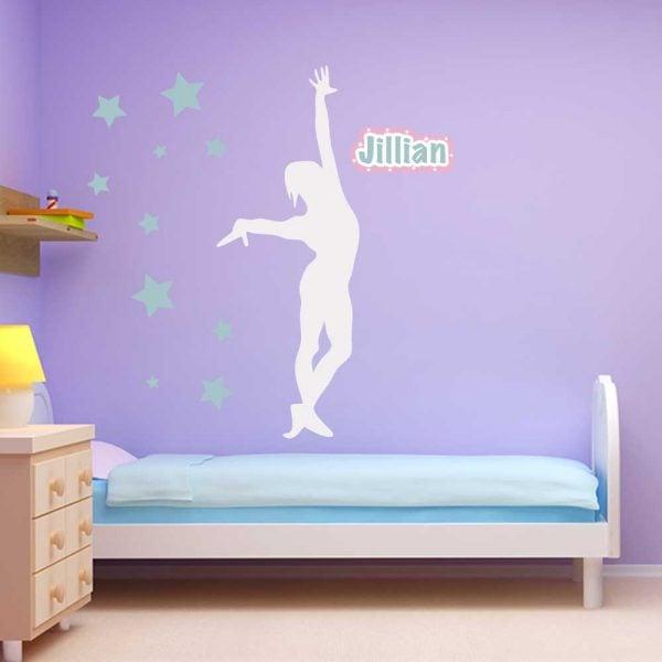 Star Gymnastics Wall Graphics Room Decor Sticker Restickable Name