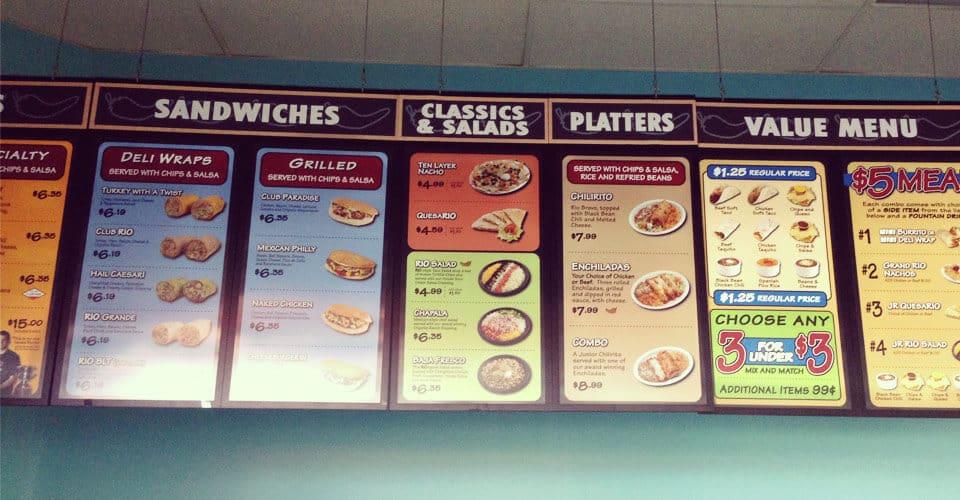 rio wraps menu sticker menu banner display food business