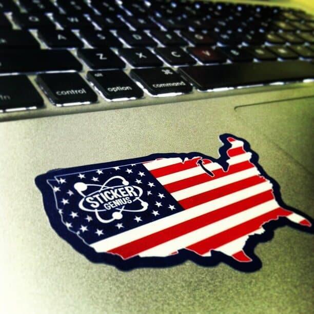laptop american flag states sticker decal