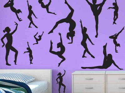 gymnastics flip wall decals room decor sticker restickable