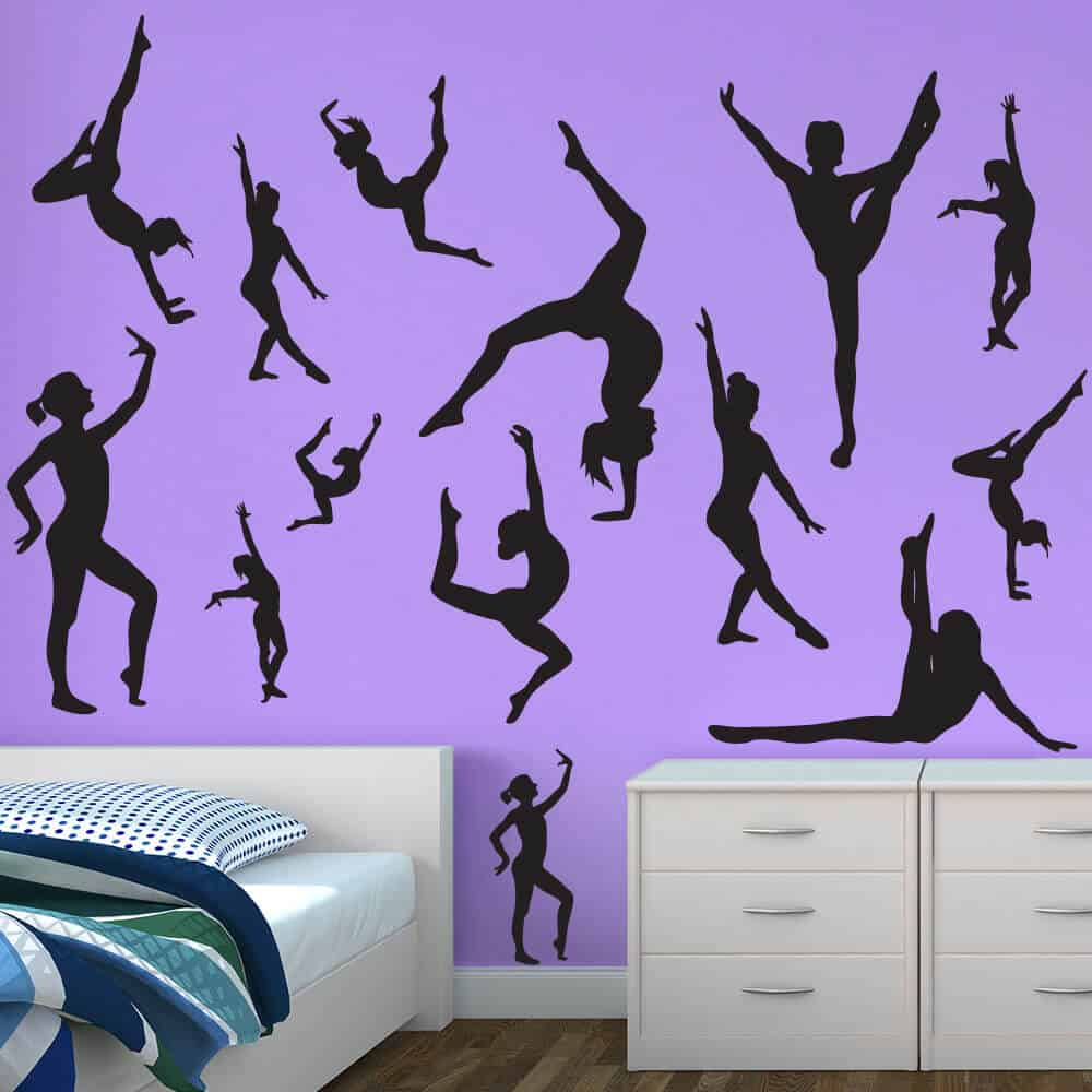 Beautiful Gymnastics Flip Wall Decals Room Decor Sticker Restickable
