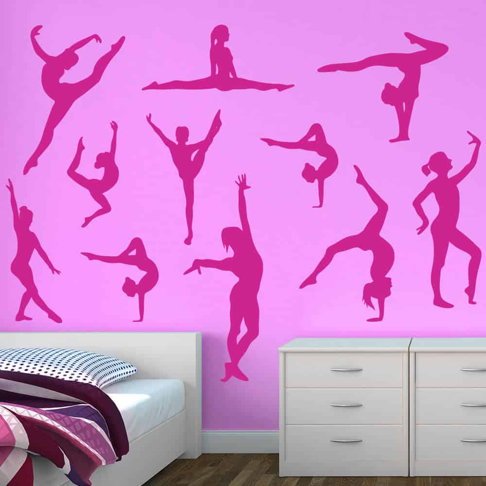 Dancer wall decals dance decals sticker genius gymnastics silhouette decals solid color amipublicfo Image collections